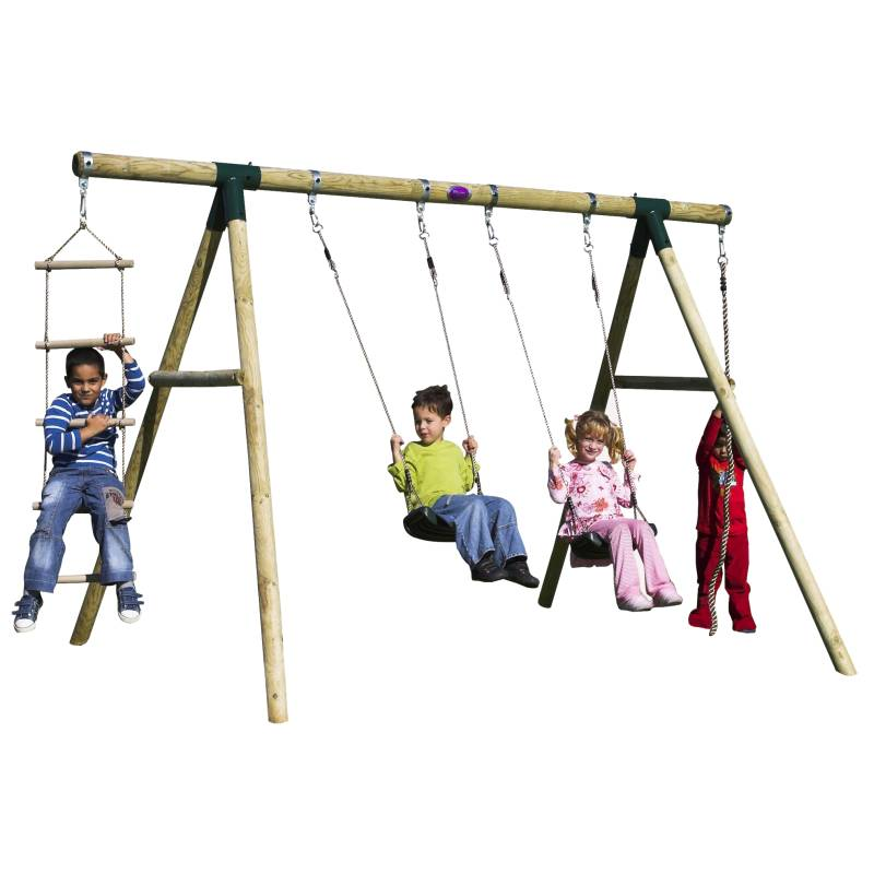 Plum Kids Double Swing Set W Climbing Rope Ladder Buy