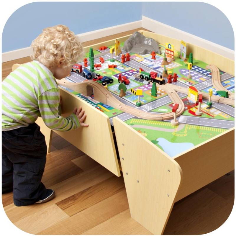 plum kids wooden train set and track activity table buy. Black Bedroom Furniture Sets. Home Design Ideas