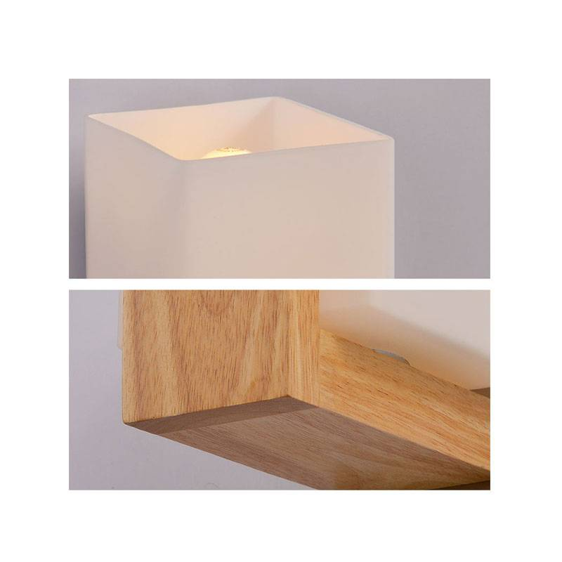 Wooden Cube Wall Lights : Contemporary Mia Wooden and Glass Cube Wall Light Buy Wall Lights