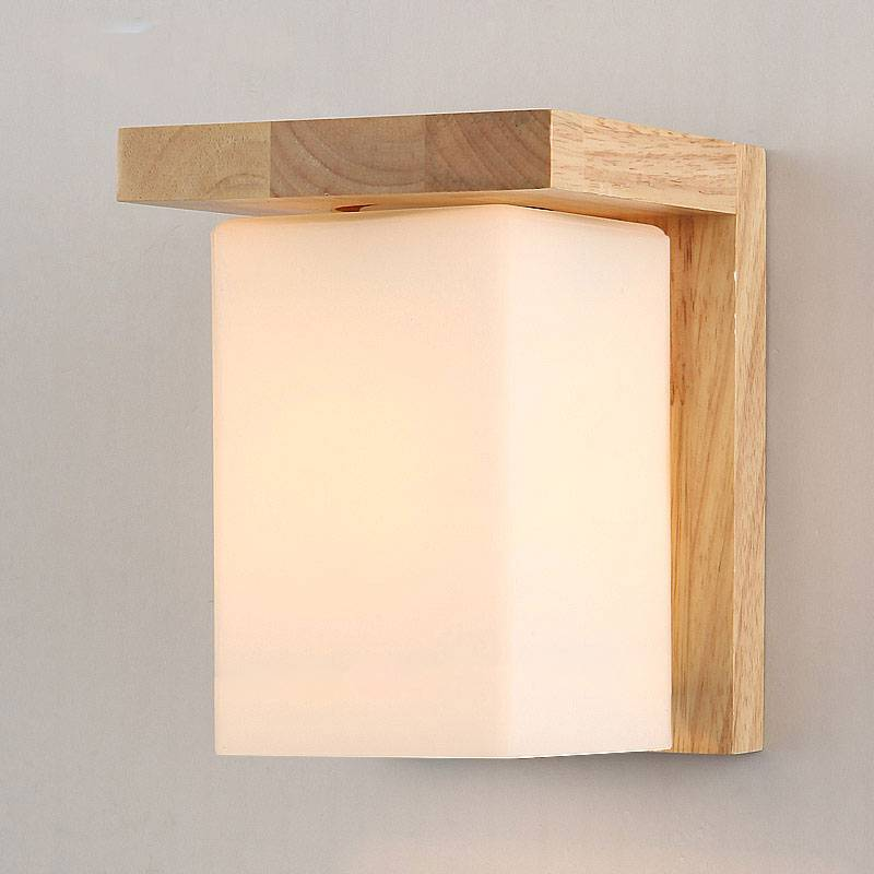Wooden Cube Wall Lights : Contemporary Tracy Wooden and Glass Cube Wall Light Buy Wall Lights