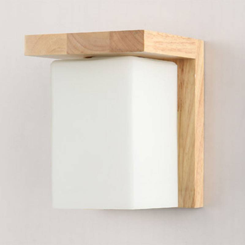 Contemporary Tracy Wooden and Glass Cube Wall Light Buy Wall Lights