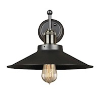 Ava Steel Pewter Vintage Wall Light Lamp in Black