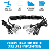 Trailer Cable Coil w/ 4 PIN Connectors, 2 AV Inputs