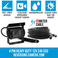 4 PIN CCD Car Colour Reversing Camera w/ 20m Cable