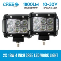 2x Cree LED Light Work Driving Flood Lamps 18W 4in