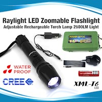 Cree Rechargeable LED Flashlight w Zoom 2500LM