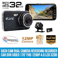 Dual Reversing 1080P LCD Dash Camera Black 4in 32GB
