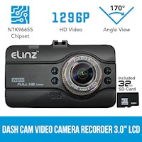 Full HD LCD Car Dash Camera w SD Card 32GB 3in 12MP