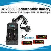 3x Rechargeable Lithium-Ion Battery w Charger 3.7V