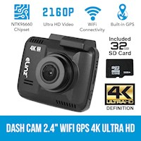 Ultra HD WiFi Car Dash Cam w/ GPS & SD Card 32GB 4K