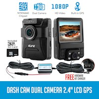 HD Dual Car Dashboard Camera w/ GPS & SD Card 32GB