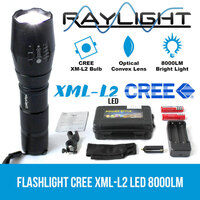Flashlight CREE XML-L2 LED 8000LM Rechargeable 2x18650 Battery Lamp Waterproof