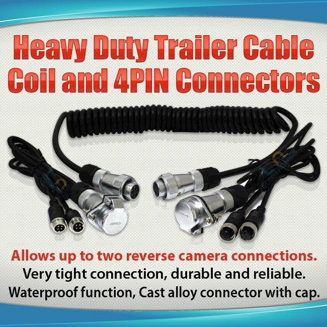 Heavy Duty Trailer Cable Coil And 4pin Connectors With 2