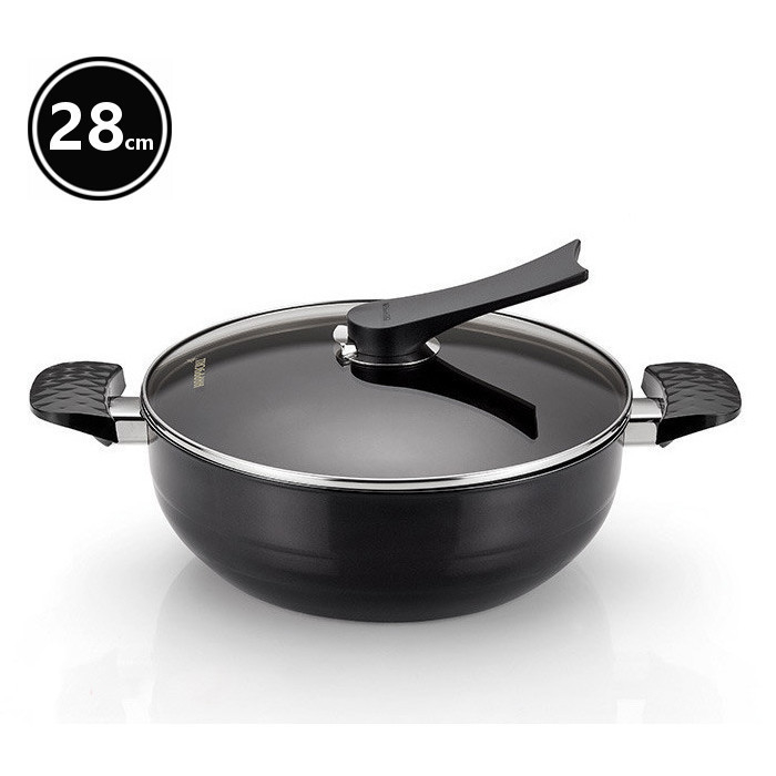happycall party wok w lid on diamond coating 28cm buy woks 190558. Black Bedroom Furniture Sets. Home Design Ideas