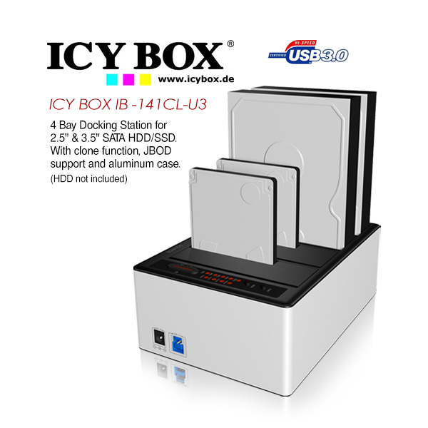 ICY BOX 4 bay JBOD docking and cloning station with USB 3 0 for SATA hard  disks and SSDs (IB-141CL-U3)