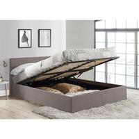 Double Size Fabric Gas Lift Storage Bed Frame Grey