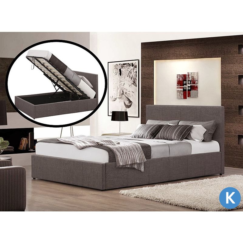 King size fabric gas lift storage bed frame grey buy for Fabric bed frame with storage
