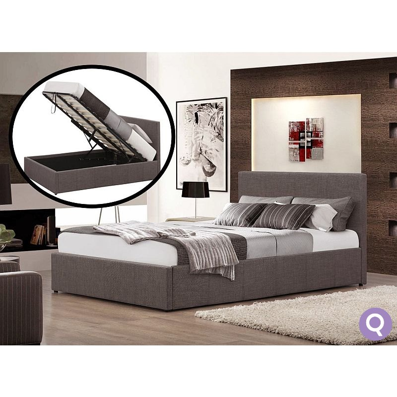 Queen Size Fabric Gas Lift Storage Bed Frame Grey Buy