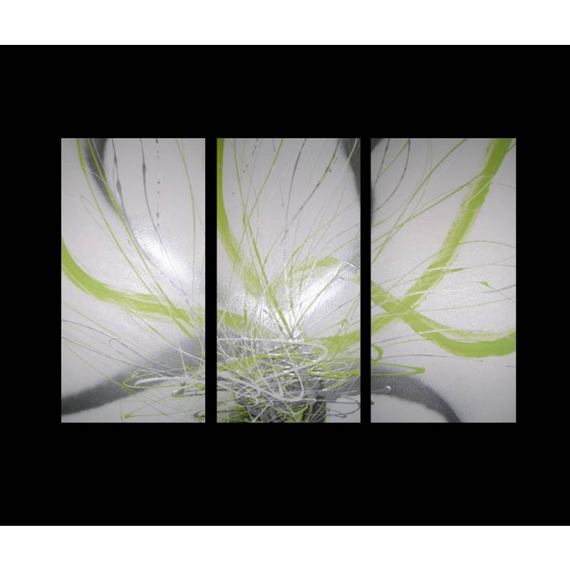 3 Canvas Abstract Painting 12 Green White Silver Buy
