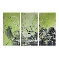 3 Canvas Abstract Painting #3 Lime Green Black