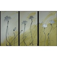 3 Canvas Abstract Painting #7 Green Silver Poppies