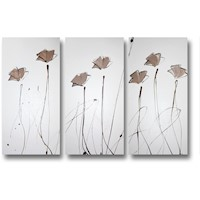 3 Canvas Abstract Painting #13 Brown Poppies