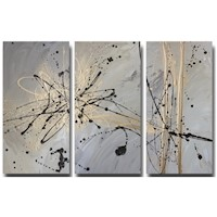 3 Canvas Abstract Painting #14 Neutral Brown Gold