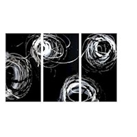 3 Canvas Abstract Painting #21 White Black