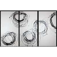 3 Canvas Abstract Painting #39 White Black Silver