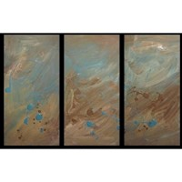 3 Canvas Abstract Painting #40 Brown Turquoise