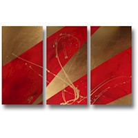3 Canvas Abstract Painting #50 Red Gold