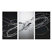 3 Canvas Abstract Painting #51 Silver Black