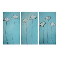 3 Canvas Abstract Painting #57 Turquoise Poppies