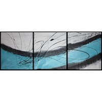 Abstract Painting Set #78 Black White Turquoise
