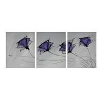 3 Canvas Abstract Painting #99 Grey Purple Poppies