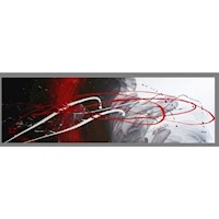 Abstract Canvas Painting #143 Red Black White