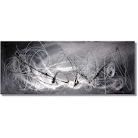 Abstract Canvas Painting #182 Black Grey Silver