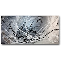 Abstract Canvas Painting #191 Grey Silver