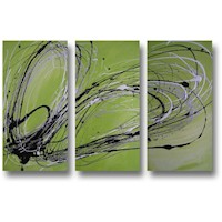 3 Canvas Abstract Painting #241 Silver Lime Green