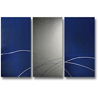 3 Canvas Abstract Painting #259 Blue Silver