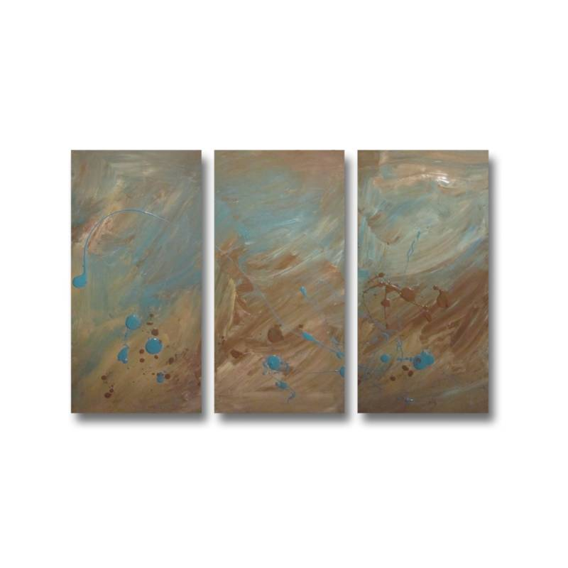 3 canvas abstract painting 40 brown turquoise buy home