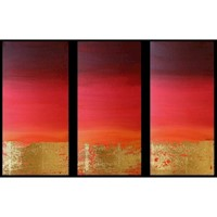 Abstract art canvas painting red gold . Wall art paintings