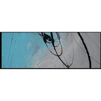 HUGE ABSTRACT CANVAS PAINTING WALL ART grey turquoise