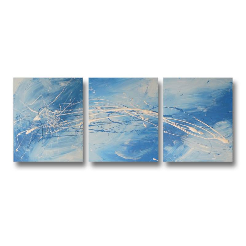 3 canvas abstract painting 82 turquoise blue buy for Blue paintings on canvas