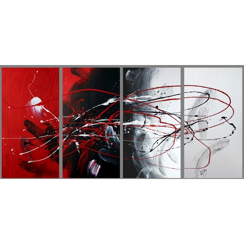7db39ea681a h m s Remaining. Abstract art canvas painting black red white . Wall art  paintings