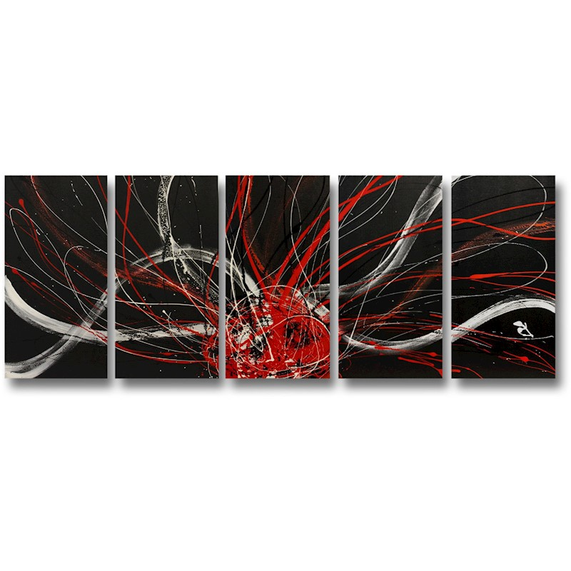 d7cc661e9e9 h m s Remaining. Abstract art canvas painting black white red. Wall art  paintings