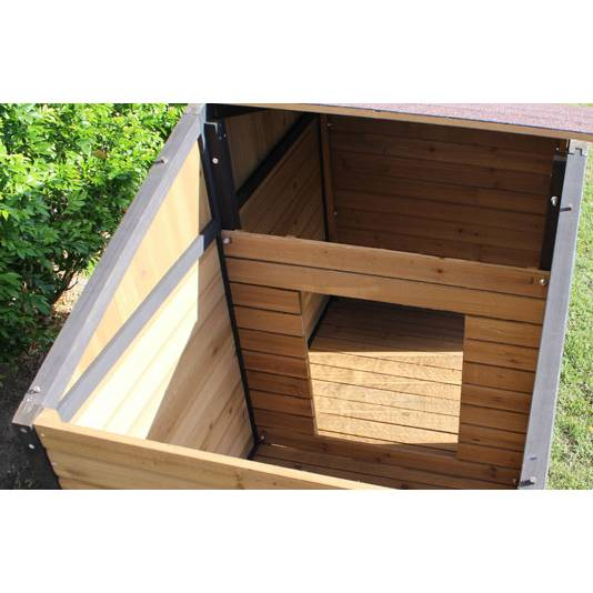 Brunswick double cedar wooden dog house large dogs buy for Large double dog house