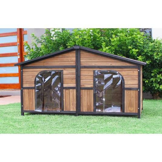 Brunswick Double Cedar Wooden Dog House Large Dogs