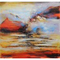 Sunset Over Water Oil Painting Artwork 100x100cm