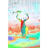 Joyful Deer Oil Painting Artwork 90x120cm